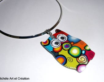 colorful little OWL necklace polymer clay