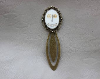Bookmark oval resin and gears Steampunk