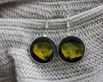 Round earrings 2.5 cm in resin and petals dried Pansy yellow