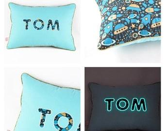 Personalized pillow name phosphorescent fuse NAP pillow blue stars