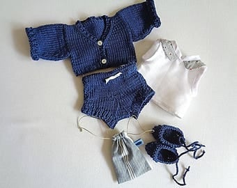 Set for doll 30 cm, shorts, vest, shirt, shoes and bag