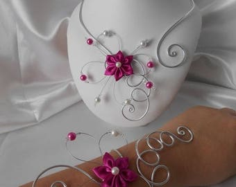 wedding BELLA flower 2 piece necklace & bracelet set in fuchsia & silver