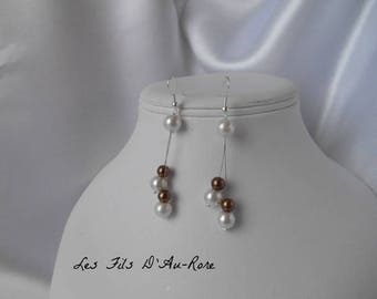 """Earrings """"SEVILLE"""" with ivory & Brown beads"""
