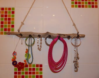 Handmade Driftwood jewelry holder and painted metal hanging or wall mounting