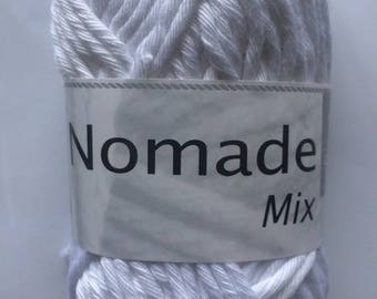 crochet cotton-acrylic MIX Nomad 011 white horse white color thread