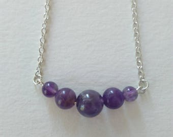 """Amethyst necklace, chain, silver, hippie chic, """"Elixir"""", Crystal healing"""
