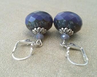 Lilac purple Czech glass Pearl Earrings
