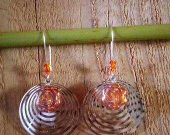 Earrings orange print
