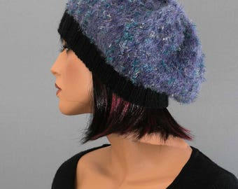 Blue, alpaca/Merino/lurex beret hat, hand knitted, women