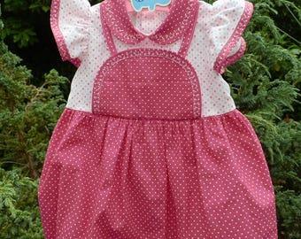 Vintage polka dot pink romper