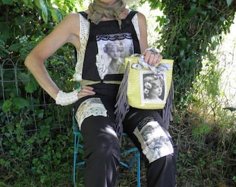 Shabby country cottage vintage jumpsuit