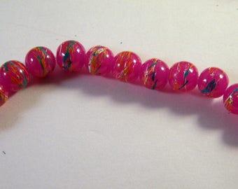 "20 glass beads 8 mm ""tréfilées"" fuchsia pink and blue PV55"