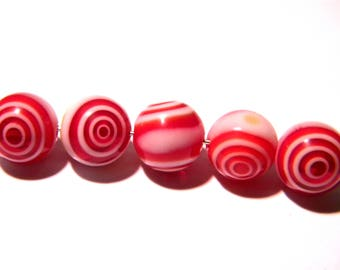 6 10 mm beads - millefiori glass - eye of cyclone-flower-red-F99-9