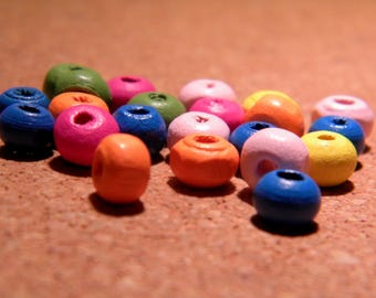 100 wooden beads natural wood painted multicolored - 6 mm - B62