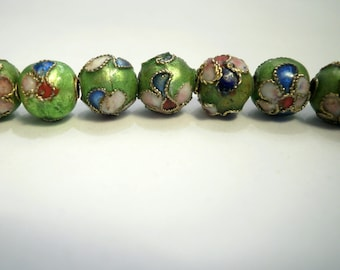 5 Green Asian cloisonne beads 8 mm