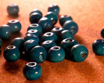 50 painted wooden beads - blue - in - 8 mm barrel shape - B4
