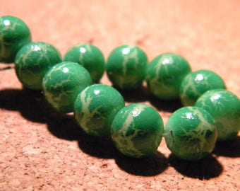 10 glass beads fashion reality - 8 mm-green grass speckled - PF25-6