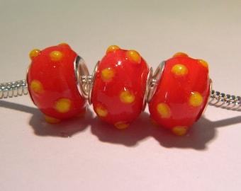 bead charm European glass lampwork - 14 x 11 mm - red dots-D33