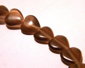 10 glass beads cat's eye - 8 mm-Brown-F45-1 heart