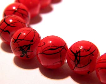 25 glass beads extruded - 8 mm glass bead - drawbench-bright red threaded black G133 10