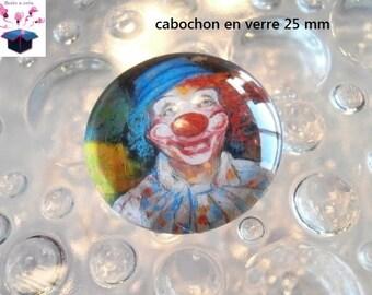 1 cabochon clear 25 mm clown theme