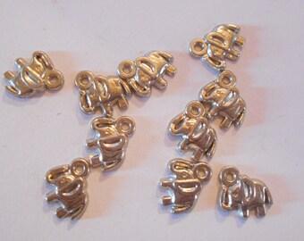 10 charms silver color elephant size 1 x 1 cm