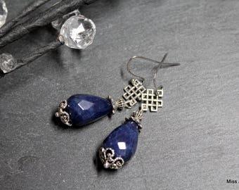 Stainless steel earrings blue agate drops