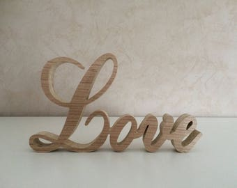 Word LOVE wood - wooden to put letters