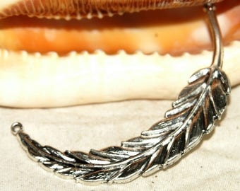 Great connector - Feather or leaf - silver-