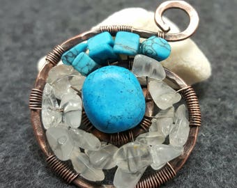 Copper and Turquoise Swirl Pendant