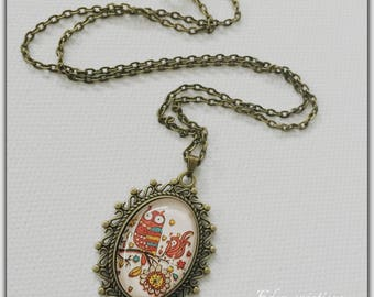 Necklace cabochon glass, autumn, OWL