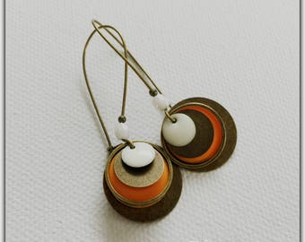Earrings bronze and orange and white sequins