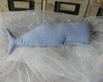 Whale Plushie inspired Tilda fabric with small crosses for babies and children