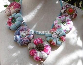 """""""Shabby chic"""" - fabrics - unique textile necklace"""