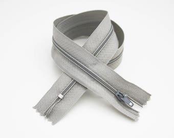 Zipper, 50 cm, grey, not separable