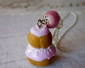 Necklace religious pin pink