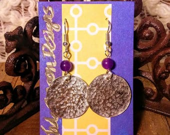 Boho hammered copper medallion earrings with silver tone patina and amethyst beads.