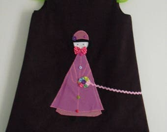 "Pretty winter dress ""little girl and her dog"" T4 years"