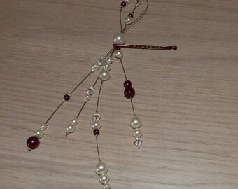 Jewelry Wedding accessory Bridal, jewelry, hair clip, ivory, Burgundy pearls, Crystal, wedding jewelry