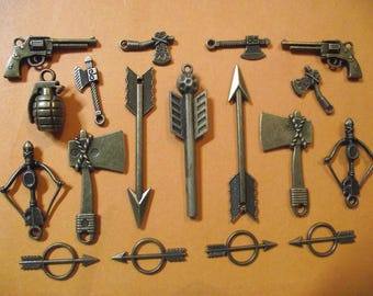 Set of 18 charms steampunk vintage bronze colour. (ref: n 5)