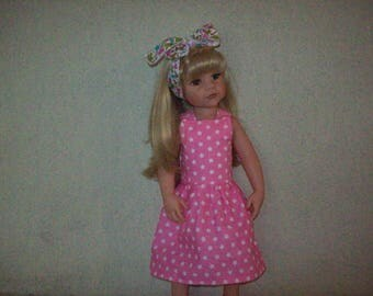 dress and headband for dolls, gotz hannah, 50 cm (with stars printed cotton)