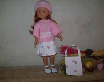 clothes for dolls 32/33 cm (skirt, sweater, hat, bag), compatible with the girls