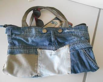recycled, blue, denim jean Pocket pattern bag