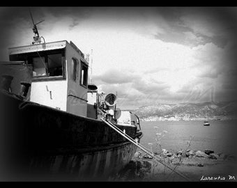 Photo 30X40cm boat abandoned near Fort Balaguier in London in NB
