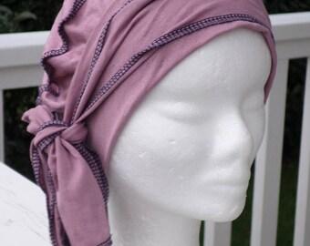 Turban bonnet béret chapeau chimio  lin'eva femme en jersey vieux rose