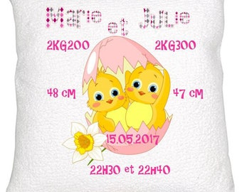 For twins birth announcement pillow