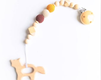 Gift birth organic pacifier and teether ring ❀ Fox ❀