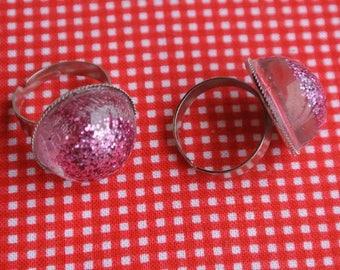 resin ring glitter pink
