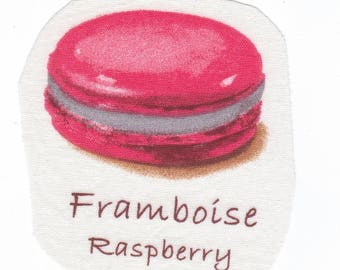 Sewing images fabric Macaron raspberry scent with the scent name