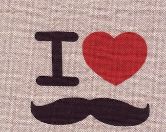 "Applique sewing textile ""Gentleman/Monsieur"": I Love mustache"
